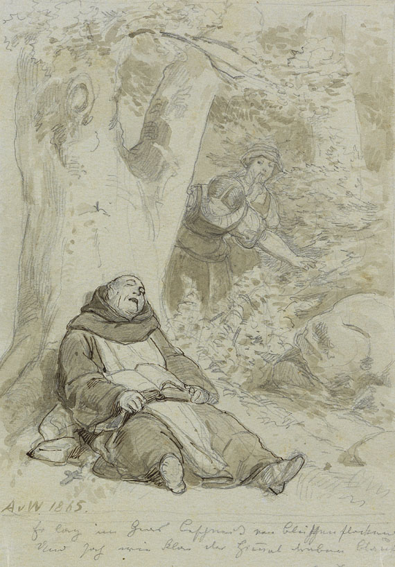 Anton von Werner - 2 Blätter: Das Begräbnis. Schlafender Mönch - Weitere Abbildung