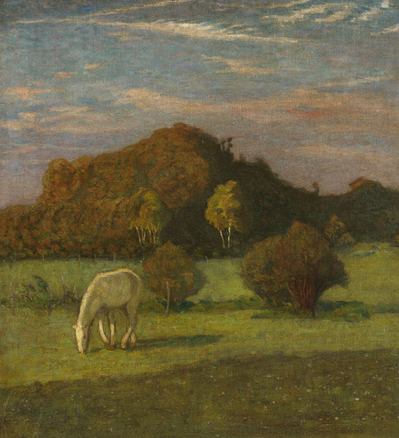 Heinrich Nauen - Schimmel vor Bäumen auf der Weide