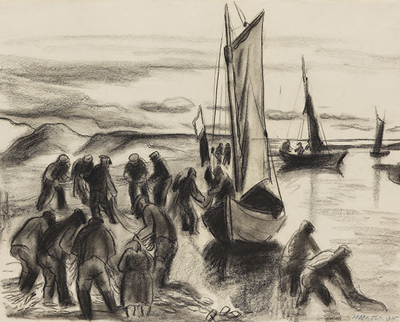 Hermann Max Pechstein - Fischer mit Booten an der Lupow-Mündung in Pommern