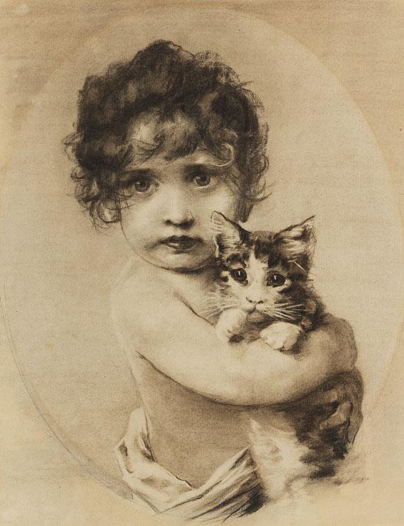 Emil Nolde - Kleines Mädchen mit Kätzchen im Arm