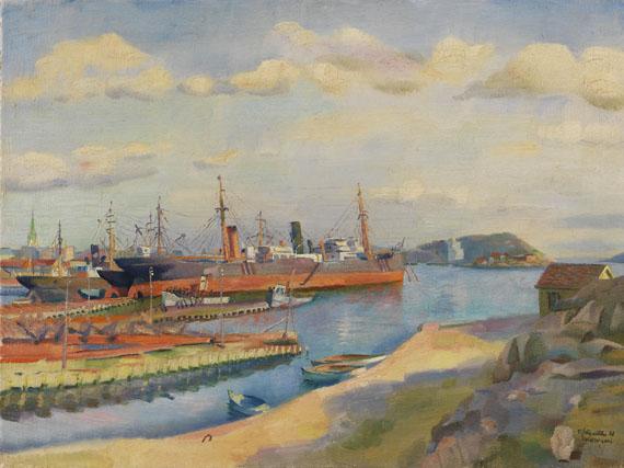Conrad Felixmüller - Kristiansand, Werft, Hafen, Stadt