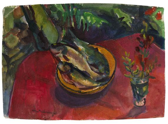 Bruno Müller-Linow - Forellen auf rotem Tischtuch im Garten