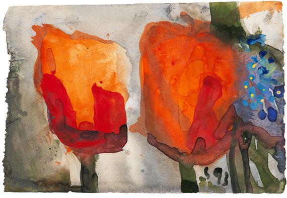 Klaus Fußmann - Rote Tulpen mit Vergissmeinnicht