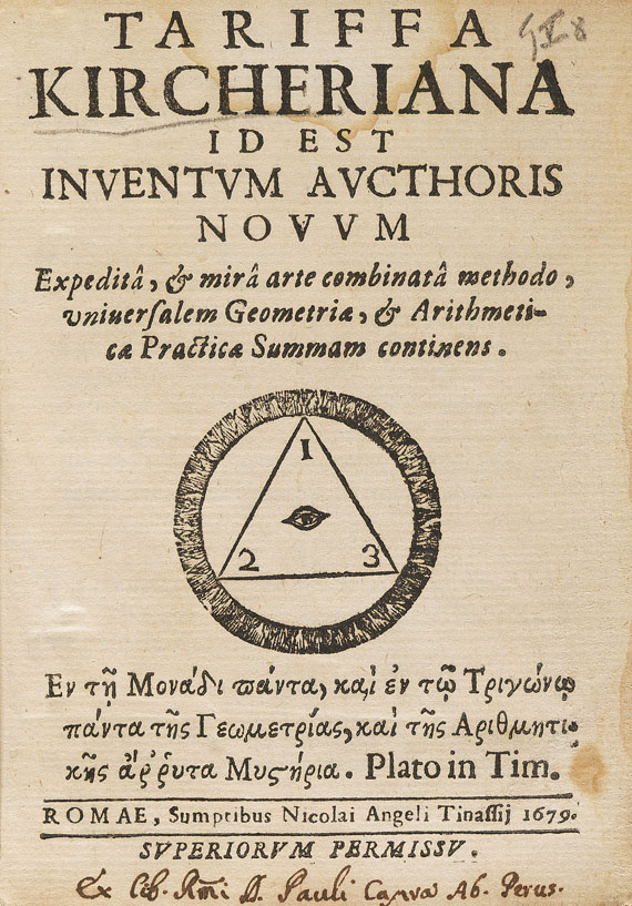 Athanasius Kircher - Tariffa Kicheriana. 2 Bde., 1679.