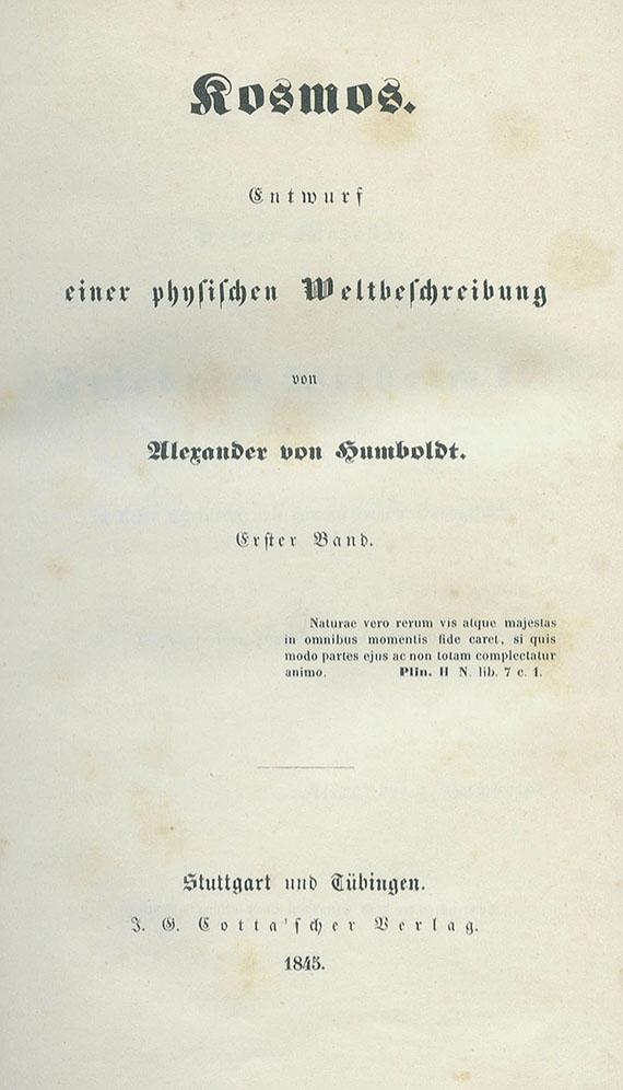 Alexander von Humboldt - Kosmos. 6 Bde. 1845ff.