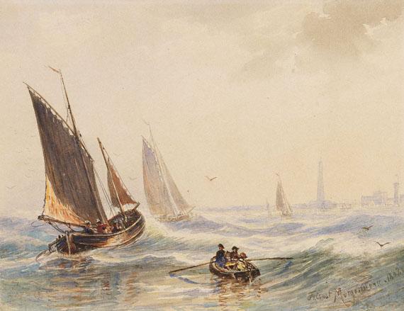 Friedrich Ernst Morgenstern - Fischerboote vor einer Küstenstadt mit großem Leuchtturm