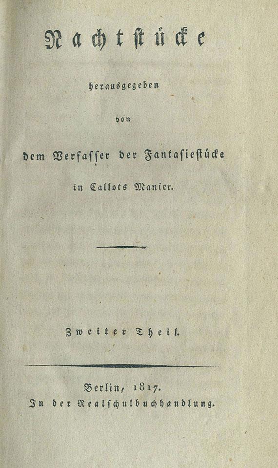 Ernst Theodor Amadeus Hoffmann - Nachtstücke. 1817. 2 Bde.