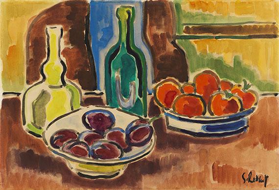 Karl Schmidt-Rottluff - Stillleben mit Obstschalen und Flaschen