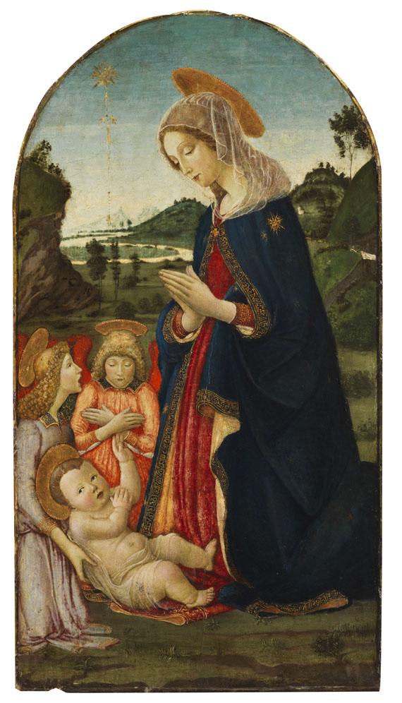 Francesco Botticini - Zugeschrieben - Anbetung Mariens mit zwei Engeln - Weitere Abbildung