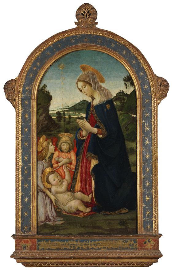 Botticini - Zugeschrieben - Anbetung Mariens mit zwei Engeln