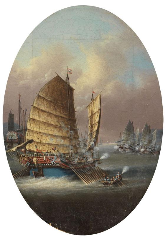 Hongkong - Kriegsschiffe im Kampf auf See