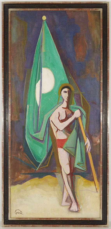 Karl Hofer - Mann mit grüner Fahne -