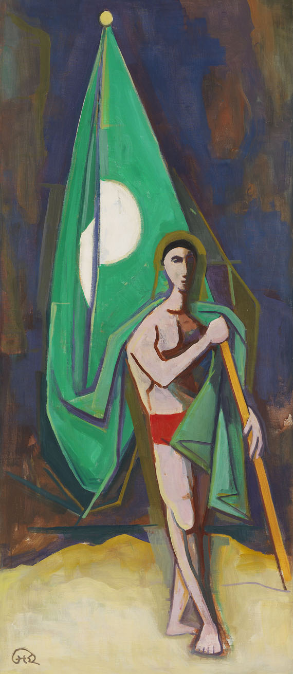Karl Hofer - Mann mit grüner Fahne