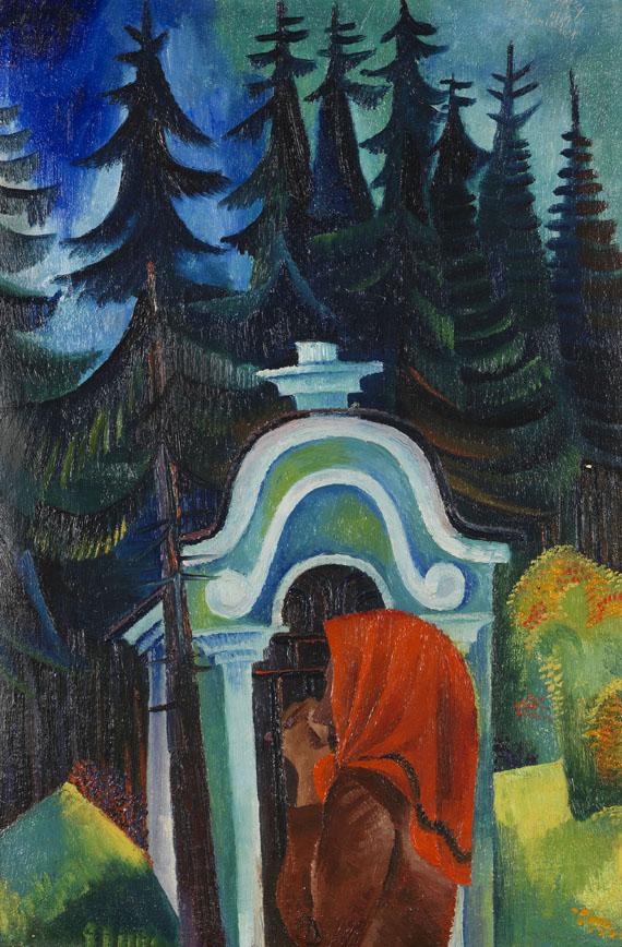 Conrad Felixmüller - Waldkapelle - betende Bäuerin (Böhmen)