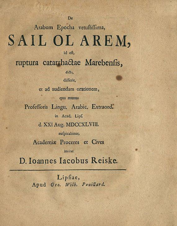 Reiske, J. J. - De Arabum epocha. 1748