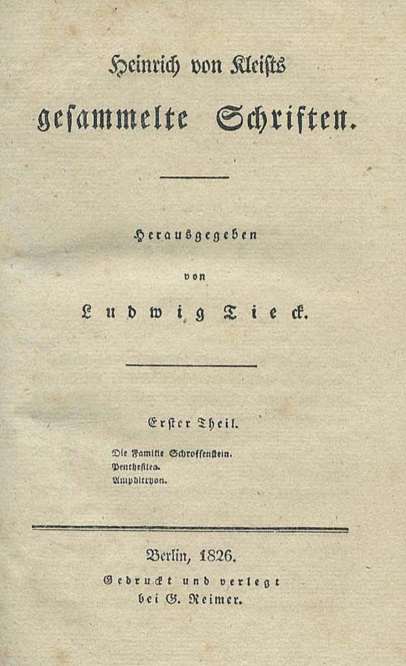 Heinrich von Kleist - Gesammelte Schriften. 1826. 3 Bde.