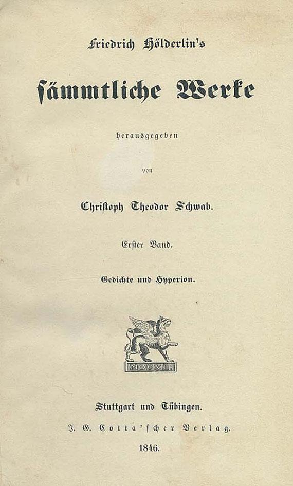 Friedrich Hölderlin - Sämmtliche Werke. 1846. 2 Bde.
