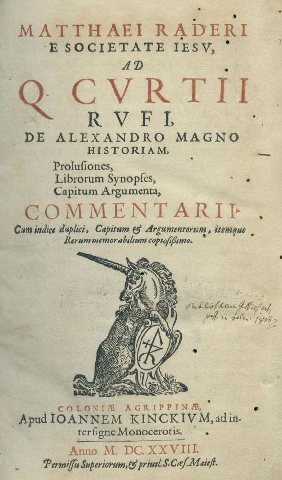 Matthaeus Rader - De Alexandro Magno historiam. 1628.
