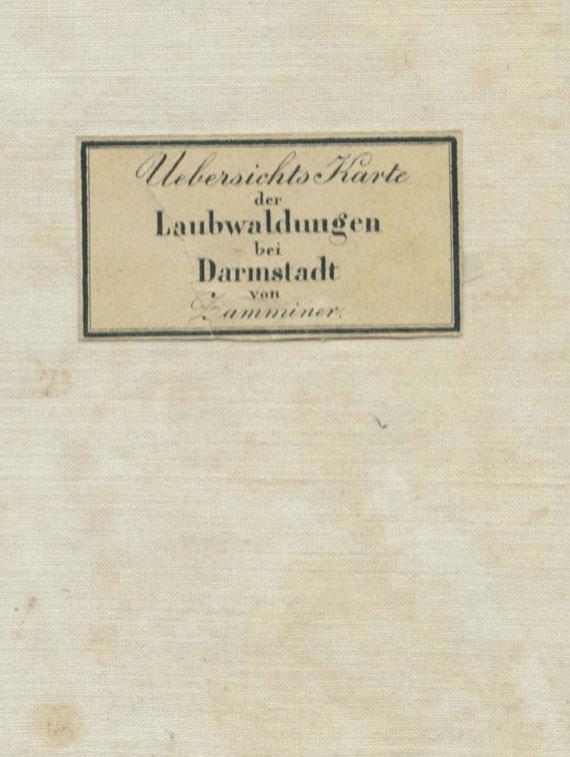 Johannes Hieronymus Zamminer - Übersichts Karte der Laubwaldungen bei Darmstadt. In Schuber. Um 1840.