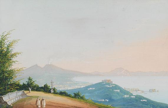 Italien - 2 Bll. Ansichten von der Bucht von Neapel (Gouachen).