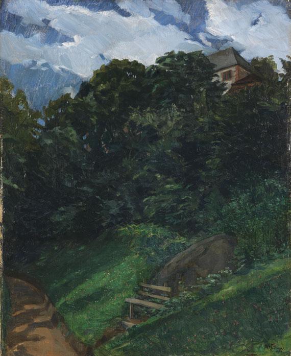 Wilhelm Trübner - Schlosspark Lichtenberg mit Bank (Odenwald)