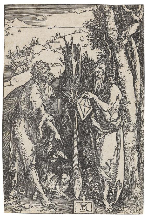 Albrecht Dürer - Johannes der Täufer und Onuphrius mit der Hopfengirlande