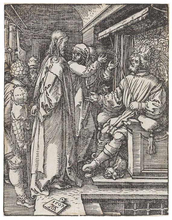 Albrecht Dürer - 4 Bll.: Geburt Christi. Christus vor Herodes. Die Dornenkrönung. Die Kreuztragung (aus der kleinen Holzschnittpassion) - Weitere Abbildung