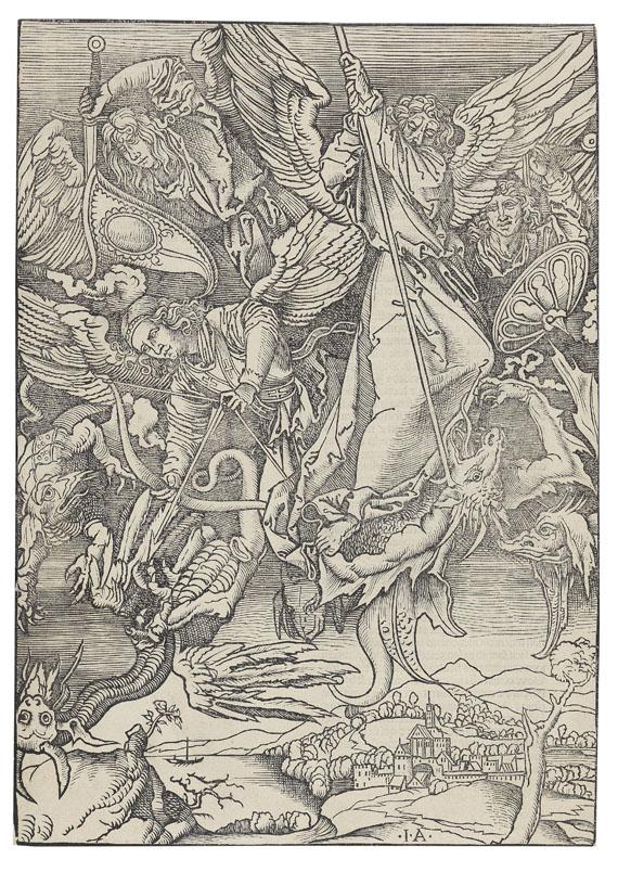 Giovanni Andrea Vavassore - Michaels Kampf mit dem Engel (nach Dürer)