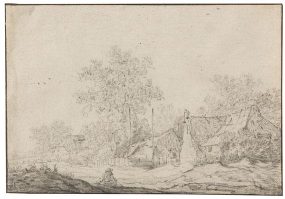 Jan van Goyen - Zugeschrieben - Kleine Dorfstraße mit sitzendem Mann