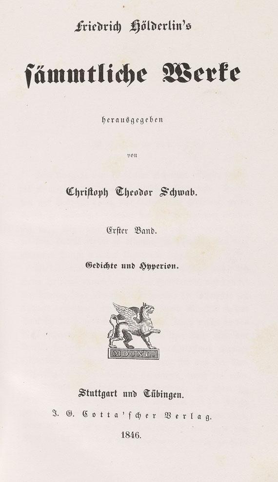 Friedrich Hölderlin - Sämmtliche Werke 2 Bde., 1846.