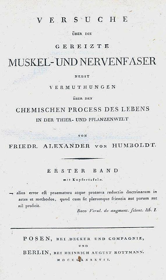 Alexander von Humboldt - Versuch über die gereizte Muskel- und Nervenfaser. 2 Bde. 1797