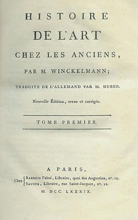 Johann Joachim Winckelmann - Histoire de l'art. 3 Bde + Recueil, 2 Bde. 1784-89. Zus. 5 Bde.