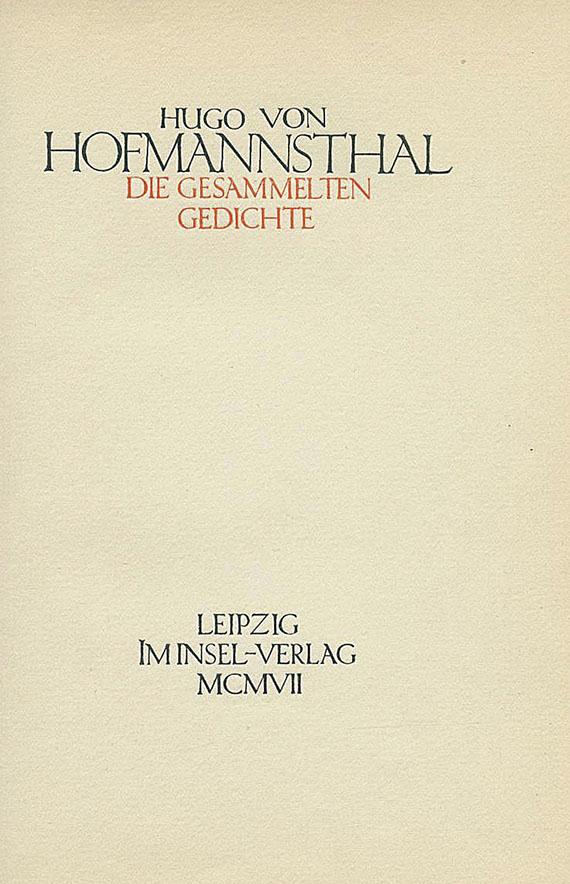 Hugo von Hofmannsthal - Die gesammelten Gedichte. 1907.