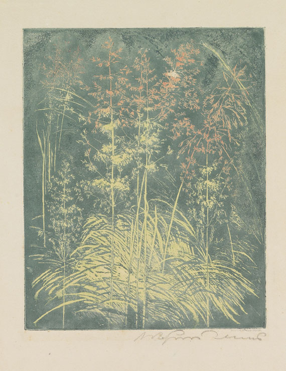 Arthur Illies - 2 Bll: Ährenfeld am Abend.Blühendes Gras
