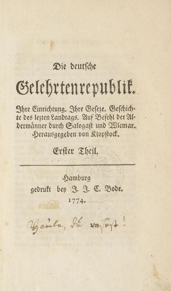 Friedrich Gottlieb Klopstock - Die deutsche Gelehrtenrepublik. 1774.