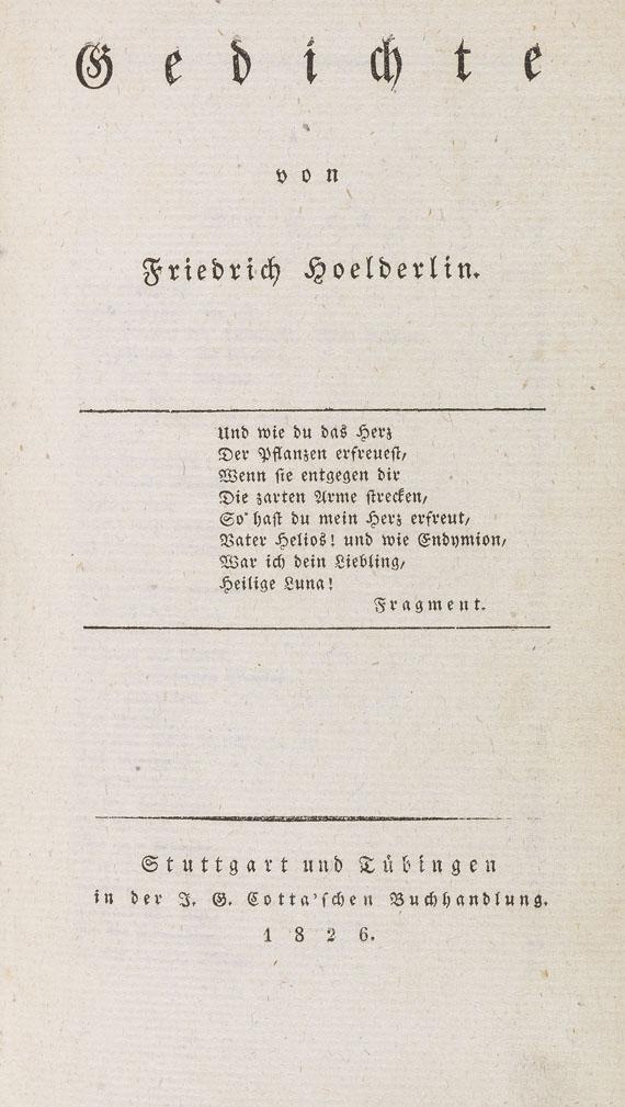 Friedrich Hölderlin - Gedichte. 1826.