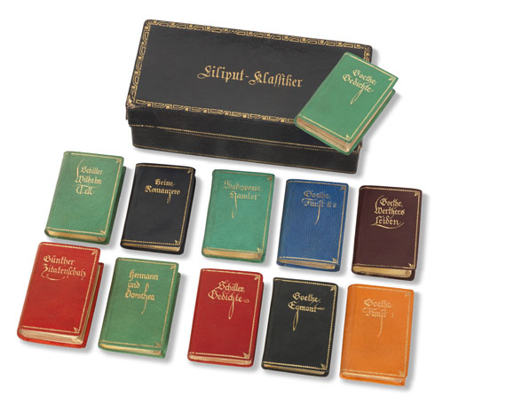 Miniaturbücher - Liliput-Klassiker. 11 Bde. in Kassette. Um 1924