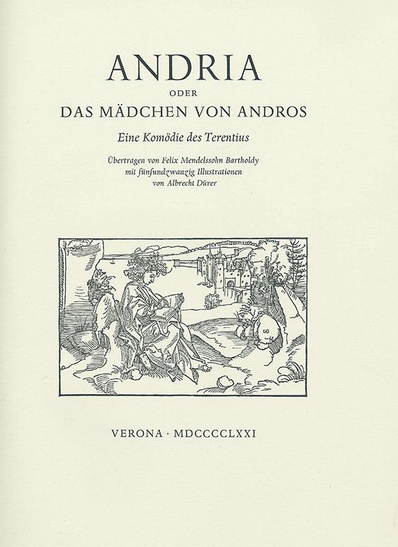 Giambattista Bodoni - Terentius, Andria oder das Mädchen von Andros. Illustr. v. A. Dürer. 1971.