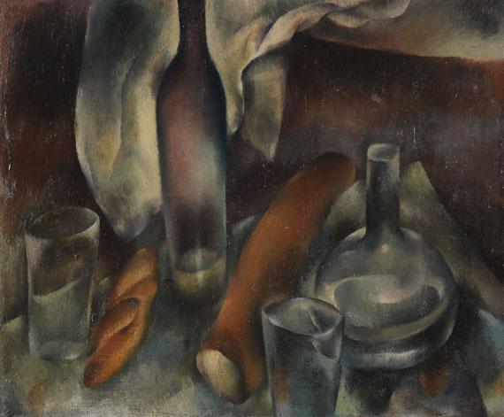 Hanns Bolz - Stillleben mit Flaschen und Baguettes