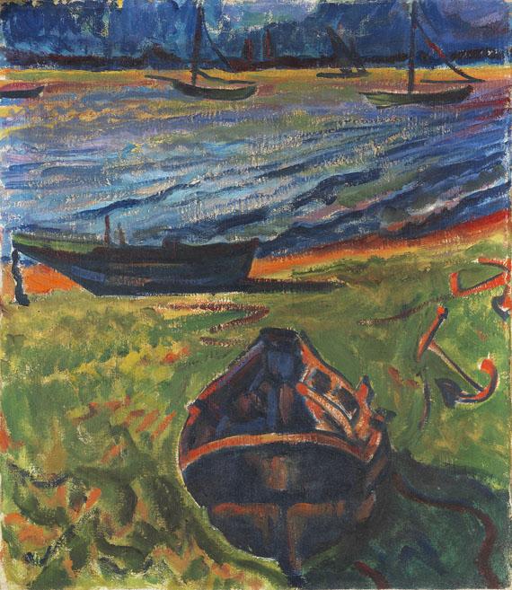 Hermann Max Pechstein - Boote am Dangaster Priel / Kühe