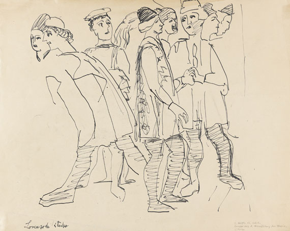 """Ernst Ludwig Kirchner - Skizze nach dem Fresko """"Vermählung der Maria"""" von Lorenzo da Viterbo"""