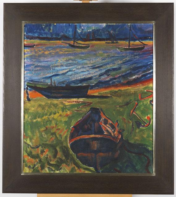 Hermann Max Pechstein - Boote am Dangaster Priel / Kühe - Rahmenbild