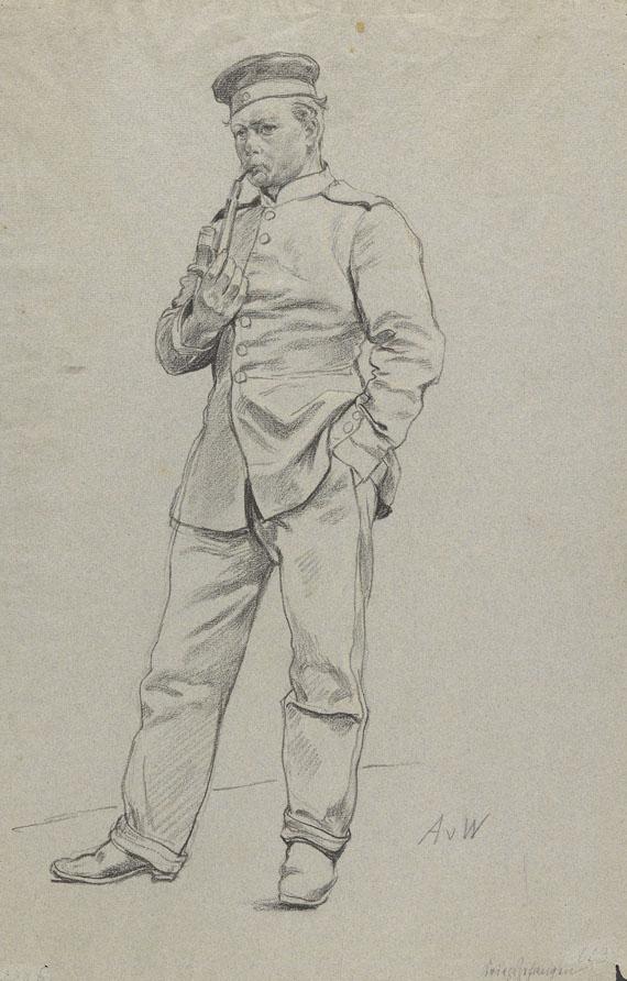 Anton von Werner - Kriegsgefangener mit Pfeife