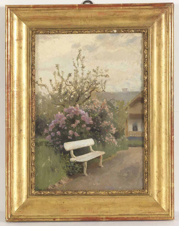 Jan Stanislawski - Die weiße Gartenbank - Rahmenbild