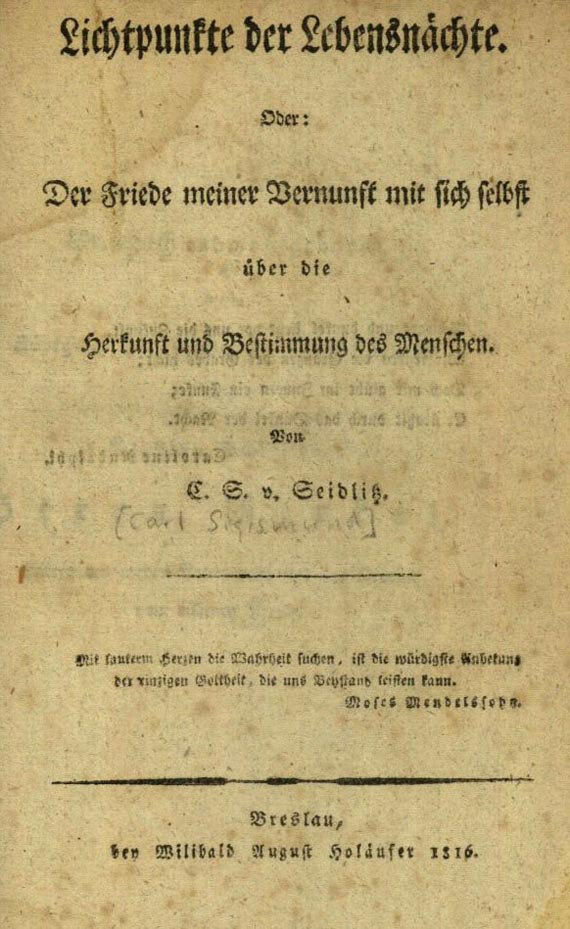 Carl Sigismund von Seidlitz - Lichtpunkte der Lebensnächte, 1816