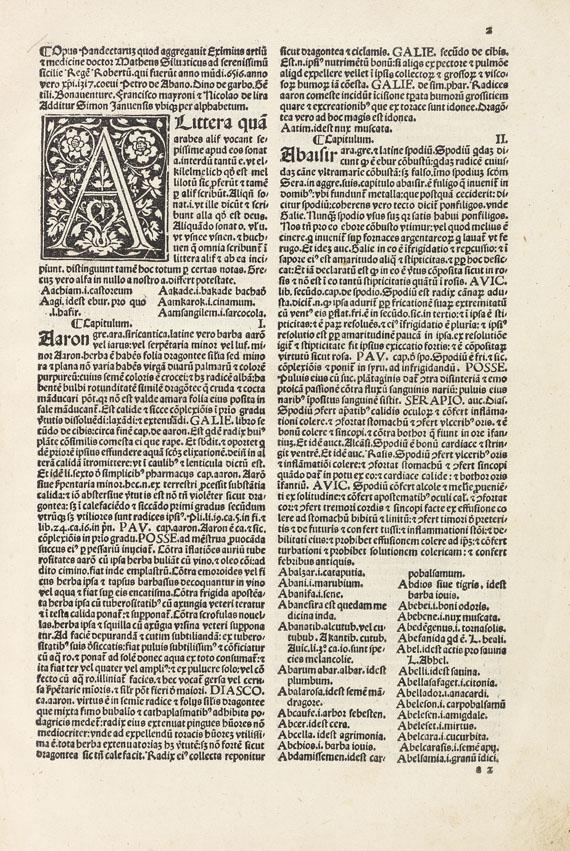 Matthaeus Silvaticus - Pandectae medicinae. 1498.