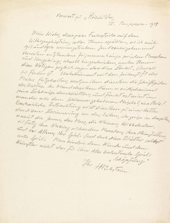 Hermann Max Pechstein - Reisebilder + Autograph + 2 sign. Orig.-Lithographien. 1919