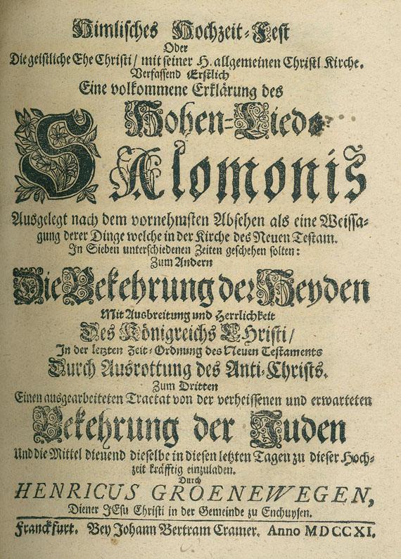 Henricus Groenewegen - Himlisches Hochzeit-Fest. 1711. Vorgeb.: Til, S. van, Das fünfte Lied der Psalmen. 1709.