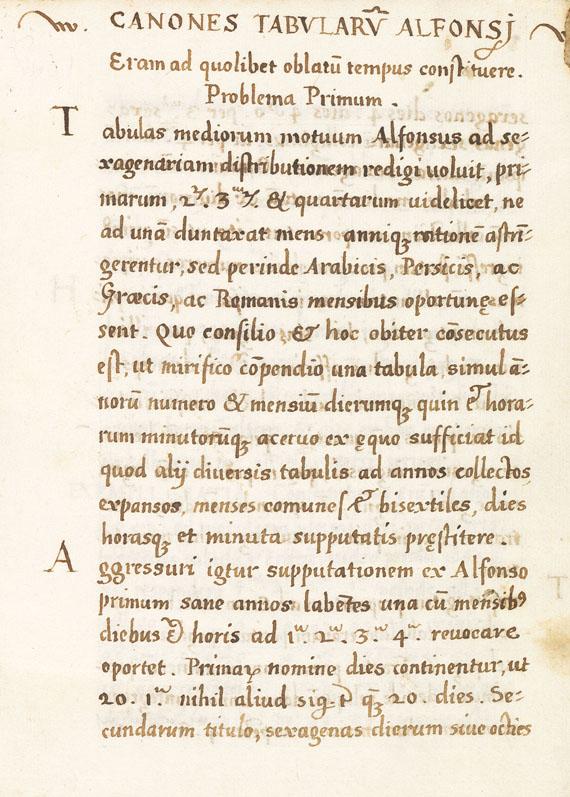 Manuskript - Canones tabularum Alfonsi. Um 1550