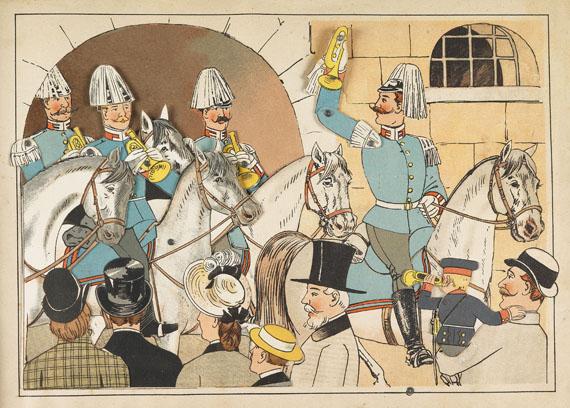 Lothar Meggendorfer - Militärisches Ziehbilderbuch. 1890. Dabei: 2 Entwürfe. - Weitere Abbildung